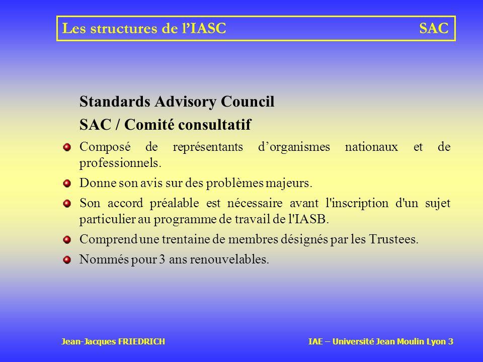 Les structures de l'IASC SAC