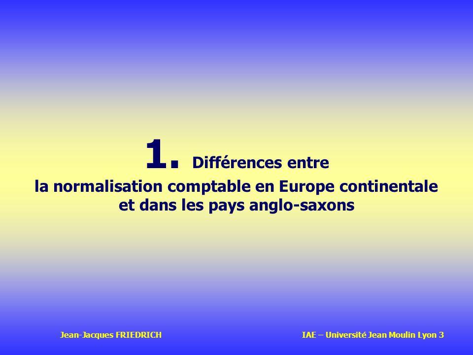 1. Différences entre la normalisation comptable en Europe continentale