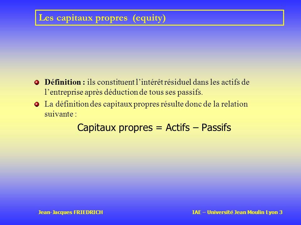 Les capitaux propres (equity)