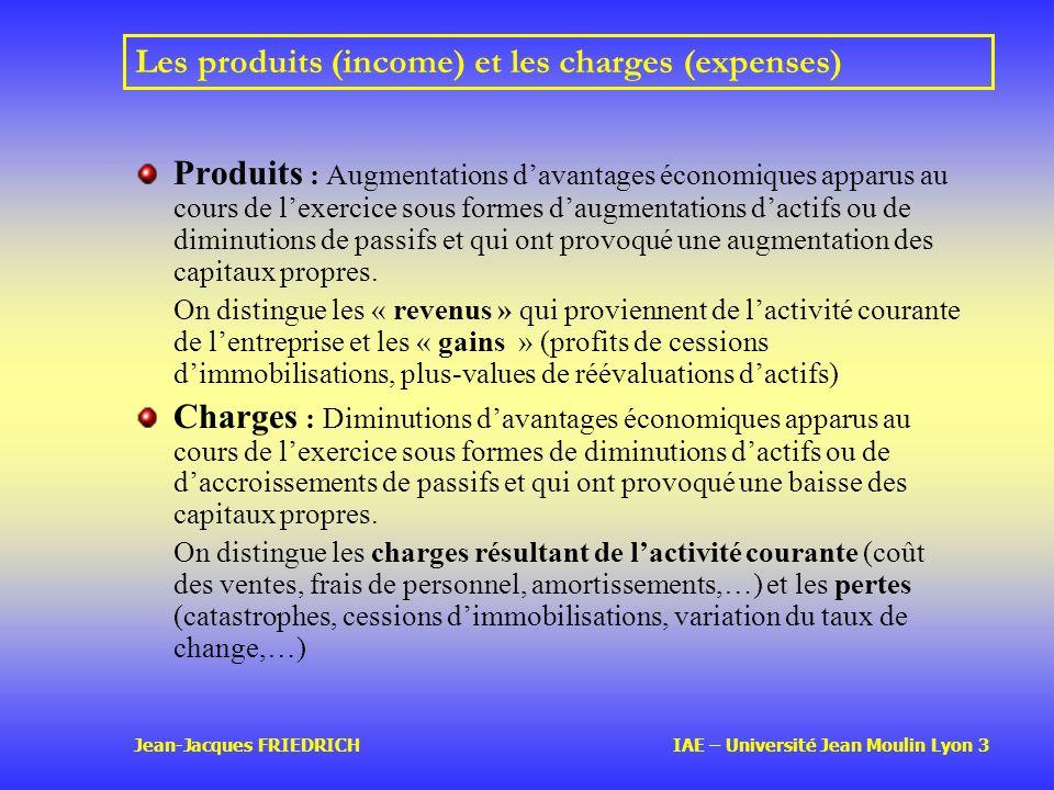 Les produits (income) et les charges (expenses)