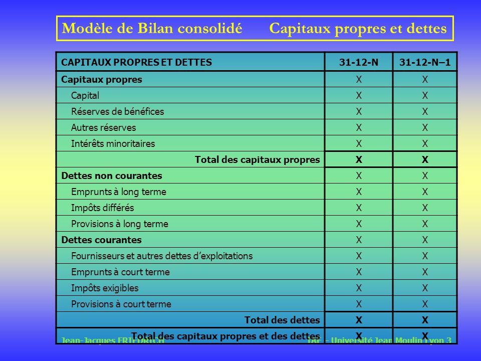 Modèle de Bilan consolidé Capitaux propres et dettes