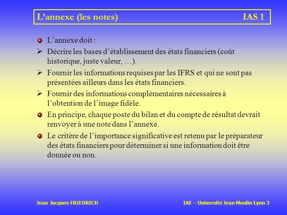 L'annexe (les notes) IAS 1