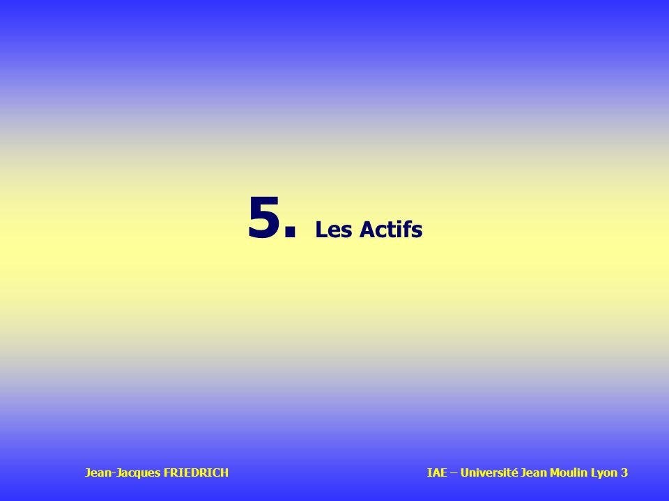 5. Les Actifs Jean-Jacques FRIEDRICH IAE – Université Jean Moulin Lyon 3