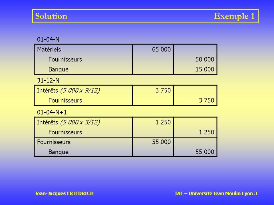 Solution Exemple 1 01-04-N Matériels 65 000 Fournisseurs 50 000 Banque