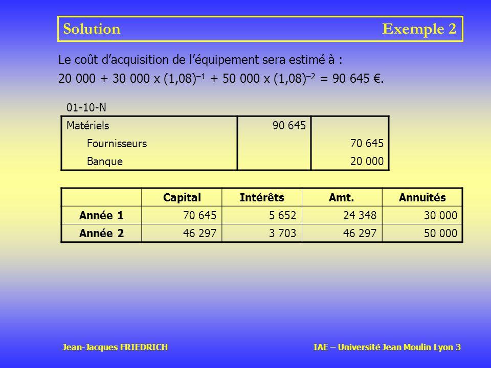 Solution Exemple 2 Le coût d'acquisition de l'équipement sera estimé à : 20 000 + 30 000 x (1,08)–1 + 50 000 x (1,08)–2 = 90 645 €.