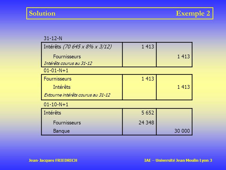 Solution Exemple 2 31-12-N Intérêts (70 645 x 8% x 3/12) 1 413