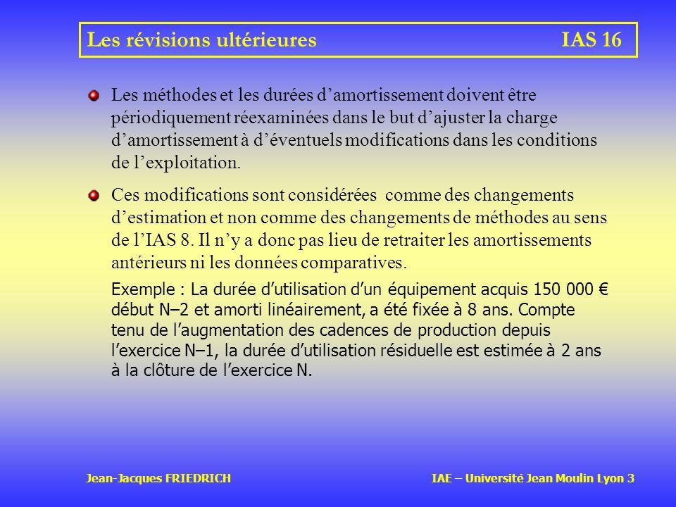 Les révisions ultérieures IAS 16