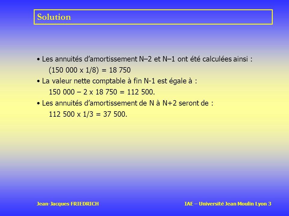 Solution Les annuités d'amortissement N–2 et N–1 ont été calculées ainsi : (150 000 x 1/8) = 18 750.
