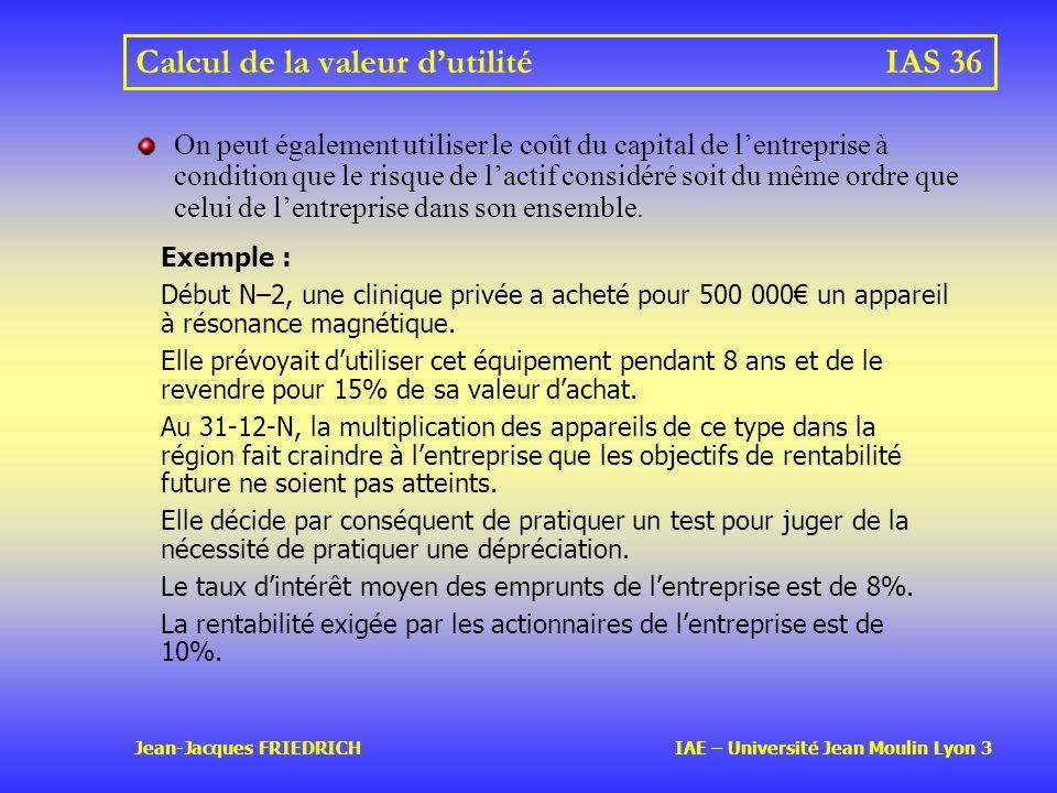 Calcul de la valeur d'utilité IAS 36