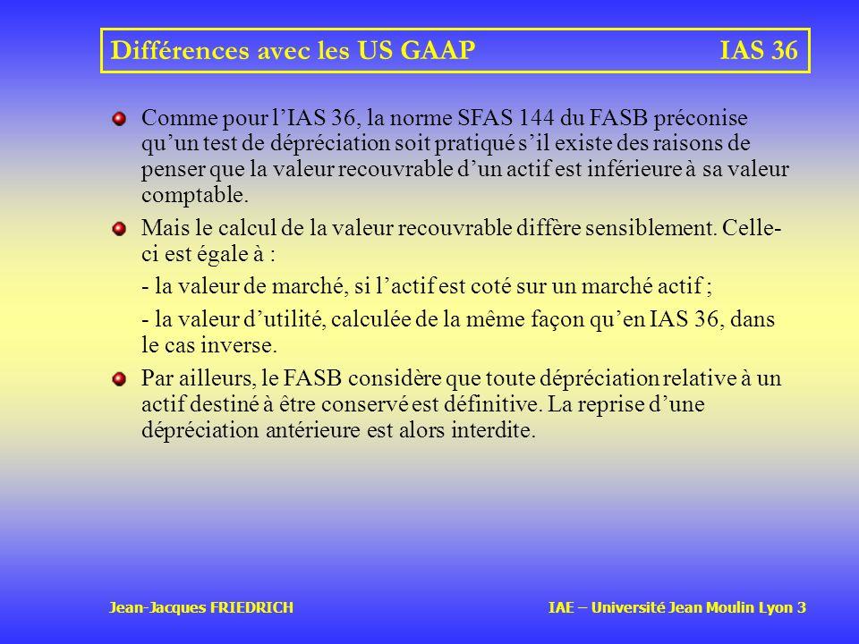 Différences avec les US GAAP IAS 36