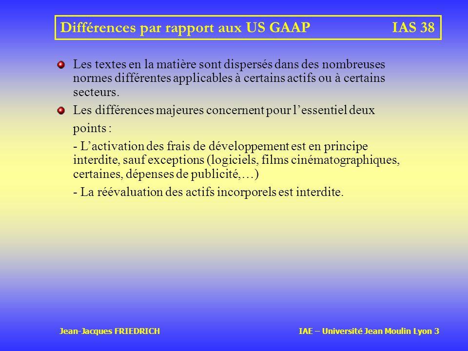 Différences par rapport aux US GAAP IAS 38