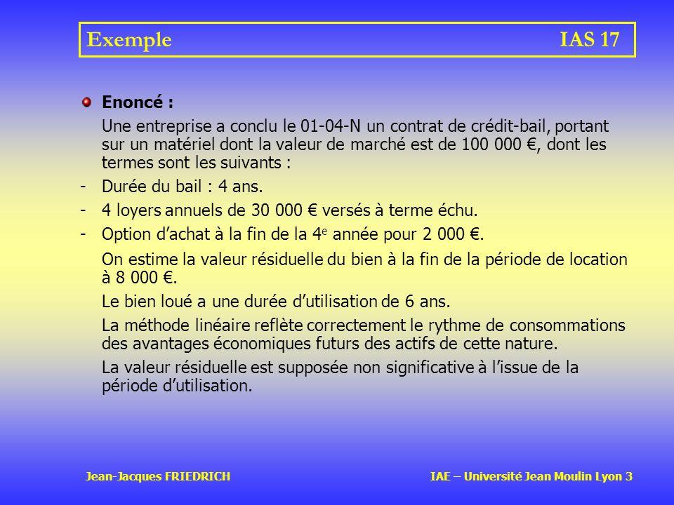 Exemple IAS 17 Enoncé :