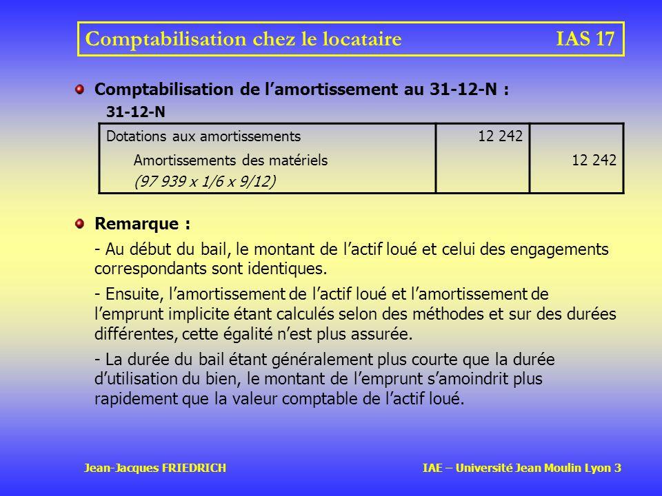 Comptabilisation chez le locataire IAS 17