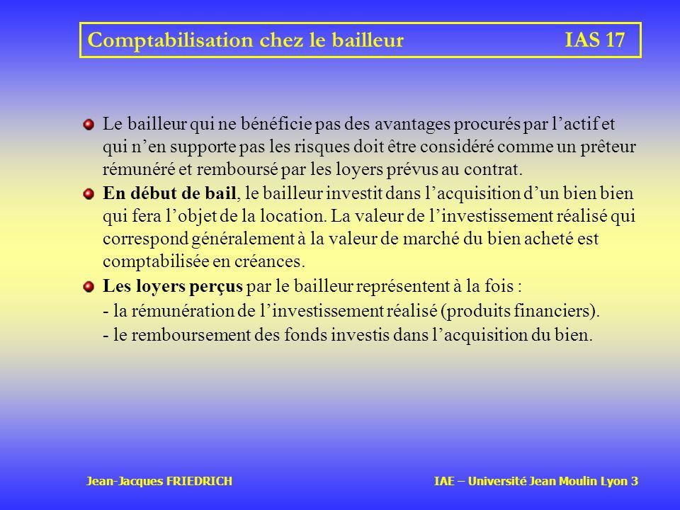 Comptabilisation chez le bailleur IAS 17