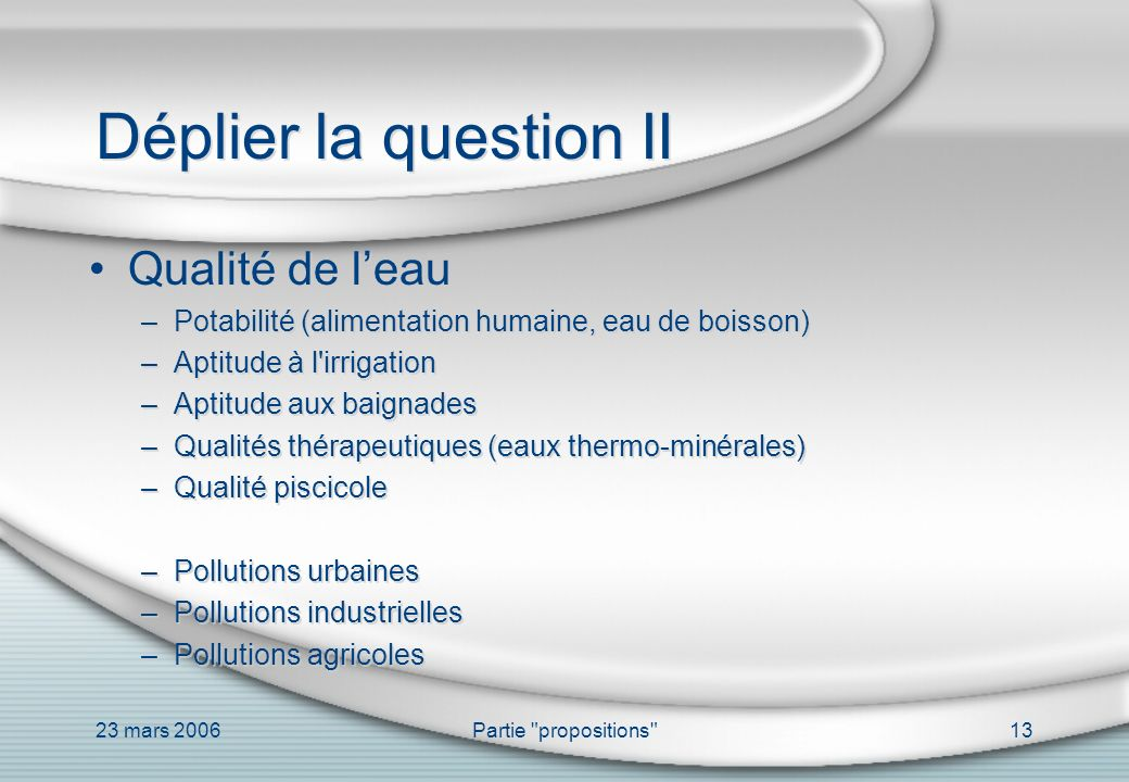 Déplier la question II Qualité de l'eau