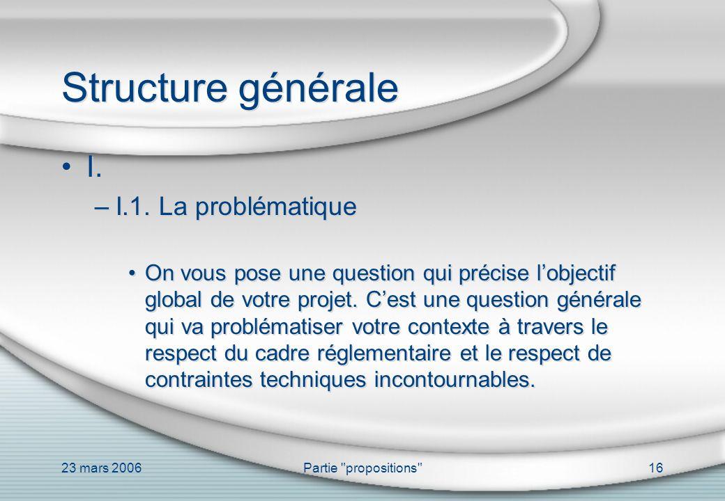 Structure générale I. I.1. La problématique