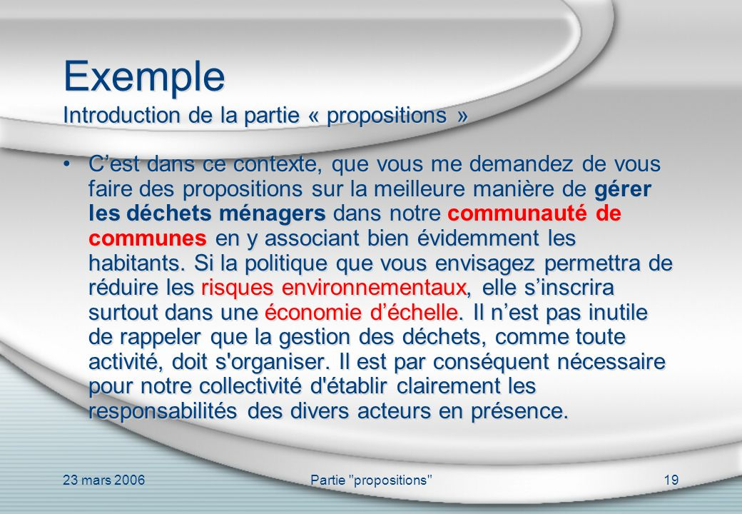 Exemple Introduction de la partie « propositions »