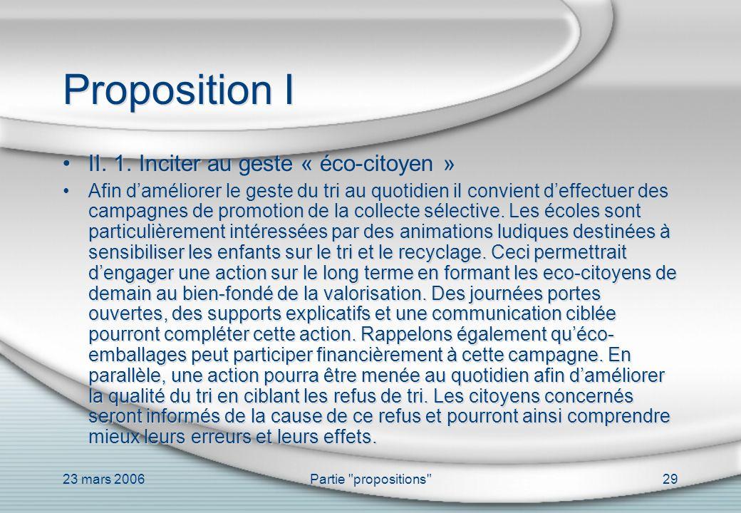 Proposition I II. 1. Inciter au geste « éco-citoyen »