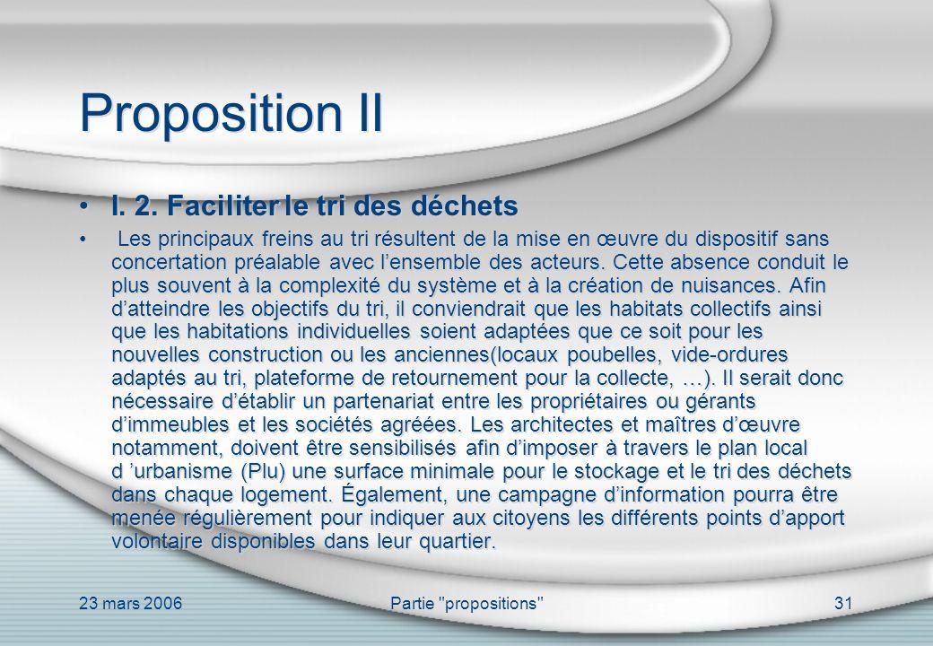 Proposition II I. 2. Faciliter le tri des déchets