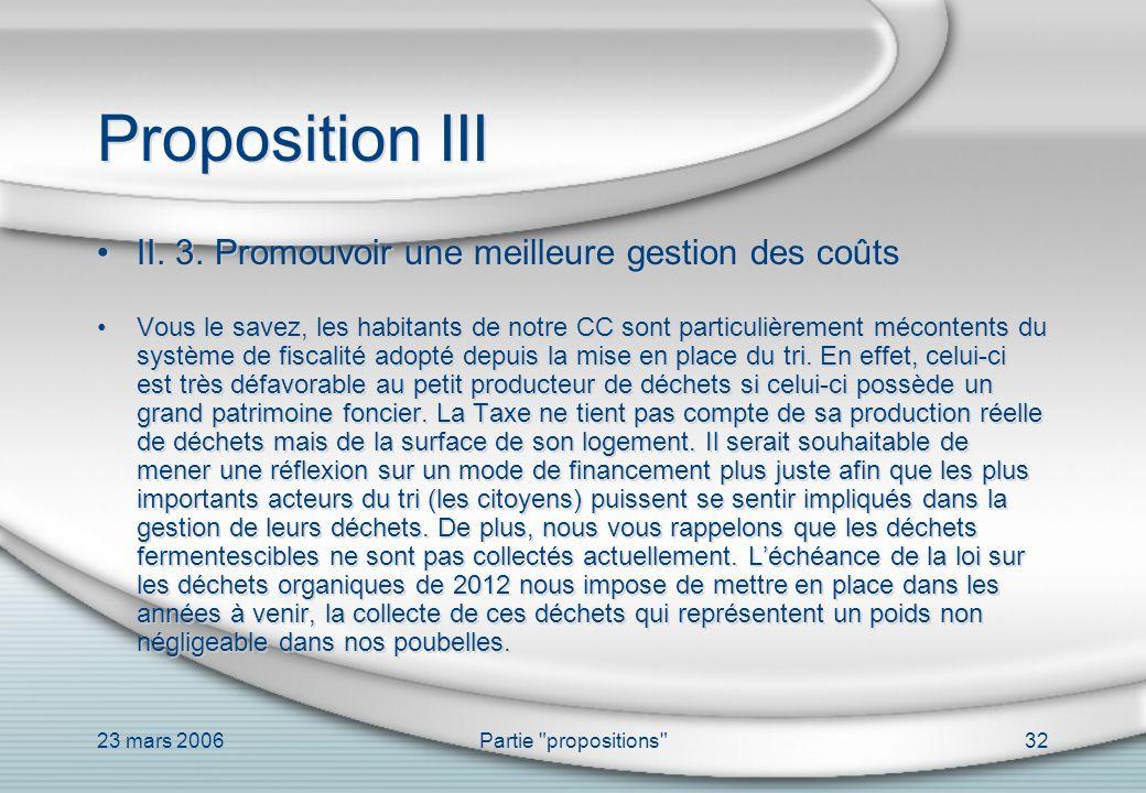 Proposition III II. 3. Promouvoir une meilleure gestion des coûts