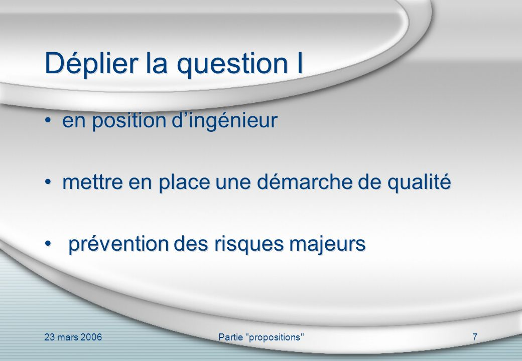 Déplier la question I en position d'ingénieur