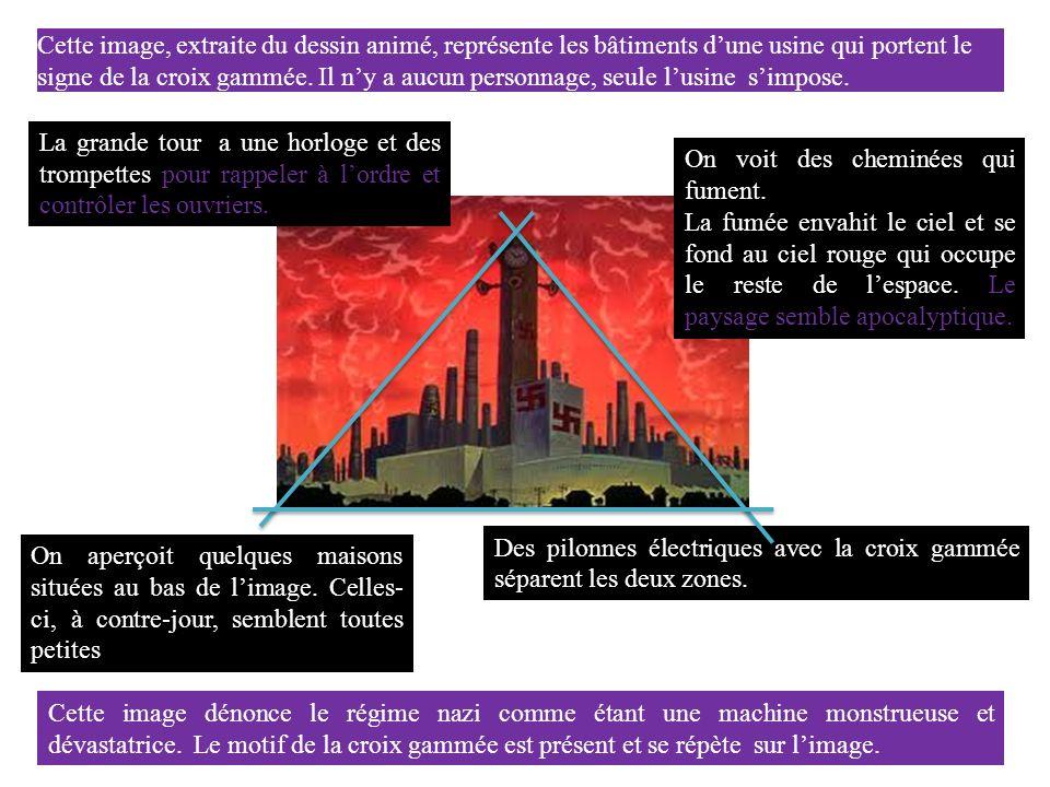 Cette image, extraite du dessin animé, représente les bâtiments d'une usine qui portent le signe de la croix gammée. Il n'y a aucun personnage, seule l'usine s'impose.