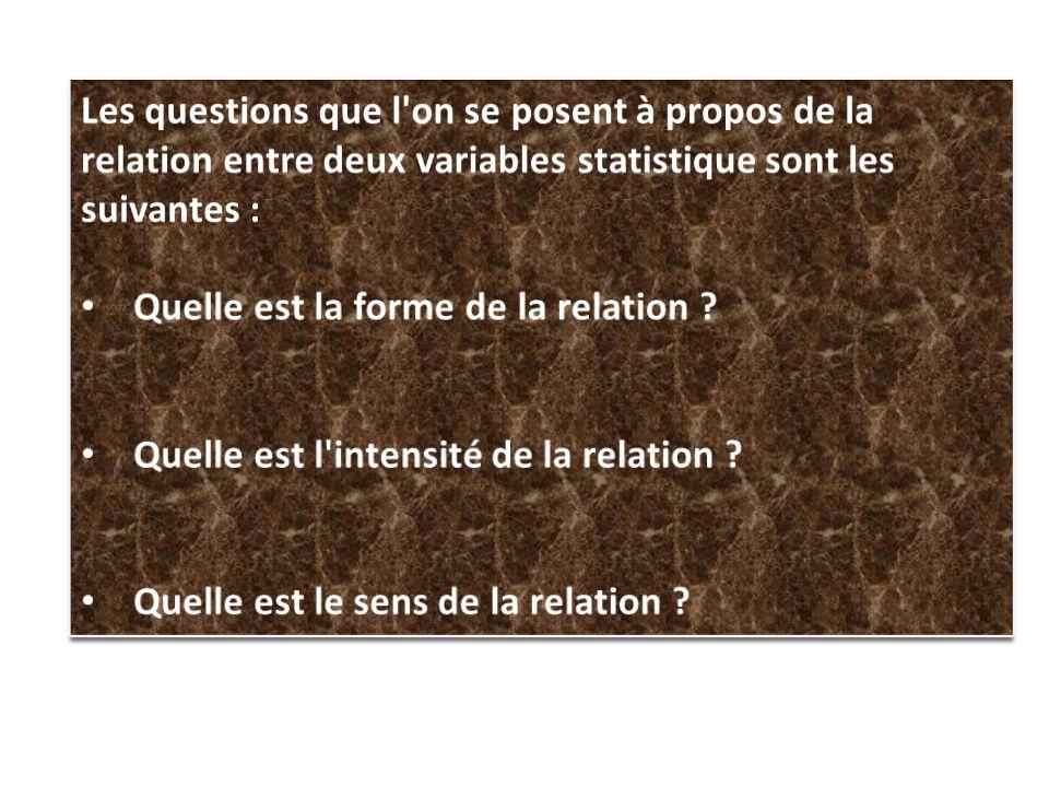 Les questions que l on se posent à propos de la relation entre deux variables statistique sont les suivantes :
