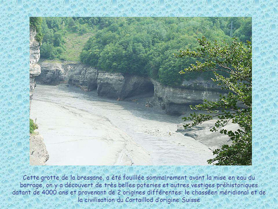 Cette grotte de la bressane, a été fouillée sommairement avant la mise en eau du barrage, on y a découvert de très belles poteries et autres vestiges préhistoriques datant de 4000 ans et provenant de 2 origines différentes: le chasséen méridional et de la civilisation du Cortaillod d'origine Suisse