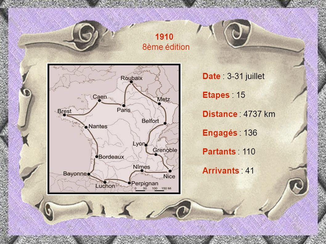 1910 8ème édition Date : 3-31 juillet Etapes : 15 Distance : 4737 km
