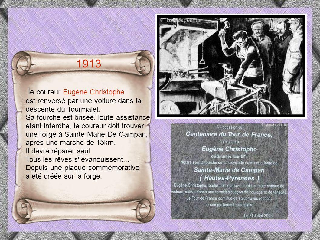 1913 le coureur Eugène Christophe est renversé par une voiture dans la