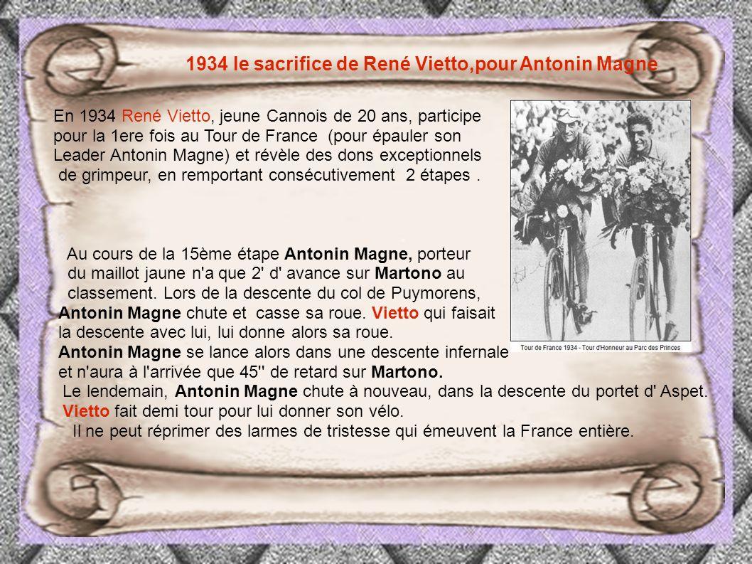 1934 le sacrifice de René Vietto,pour Antonin Magne