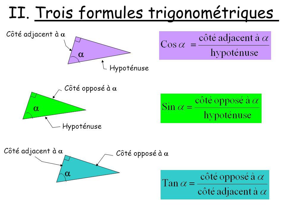II. Trois formules trigonométriques
