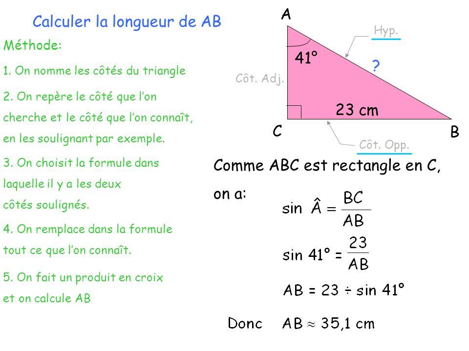 Calculer la longueur de AB