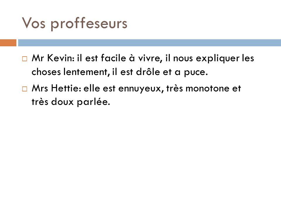 Vos proffeseurs Mr Kevin: il est facile à vivre, il nous expliquer les choses lentement, il est drôle et a puce.