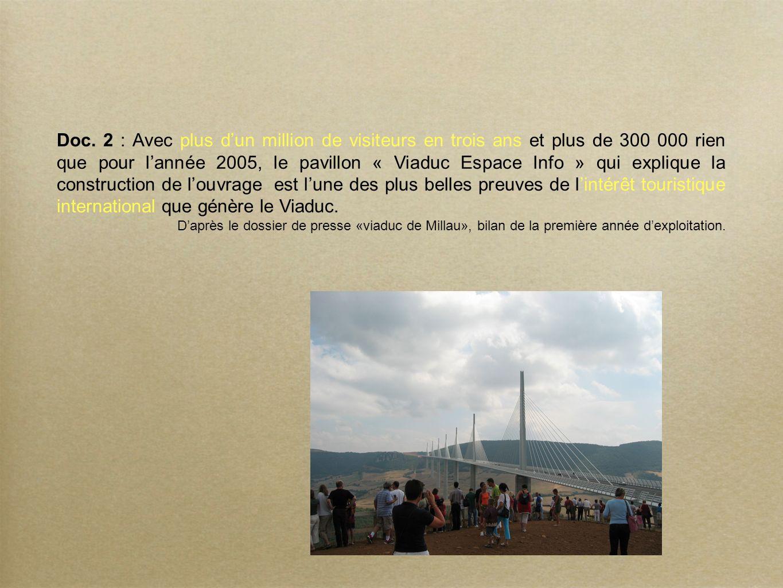 Doc. 2 : Avec plus d'un million de visiteurs en trois ans et plus de 300 000 rien que pour l'année 2005, le pavillon « Viaduc Espace Info » qui explique la construction de l'ouvrage est l'une des plus belles preuves de l'intérêt touristique international que génère le Viaduc.