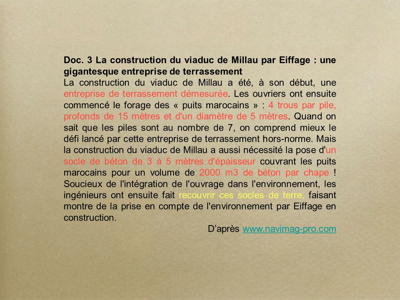 Doc. 3 La construction du viaduc de Millau par Eiffage : une gigantesque entreprise de terrassement