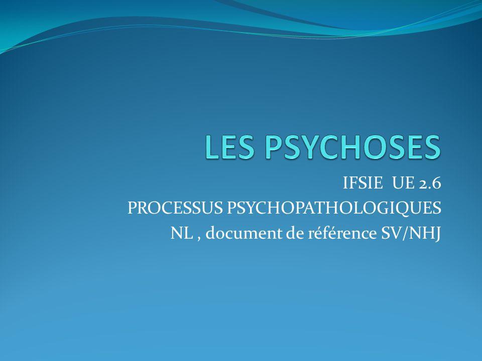 LES PSYCHOSES IFSIE UE 2.6 PROCESSUS PSYCHOPATHOLOGIQUES