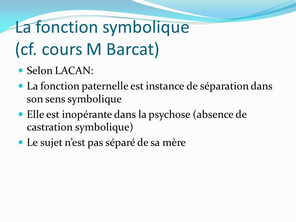 La fonction symbolique (cf. cours M Barcat)