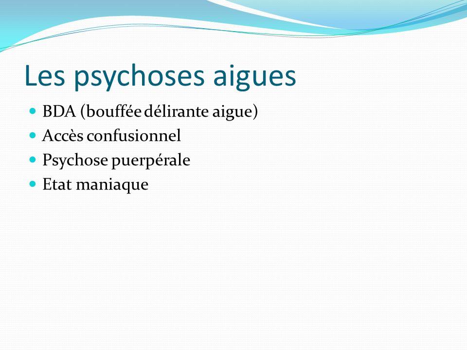 Les psychoses aigues BDA (bouffée délirante aigue) Accès confusionnel