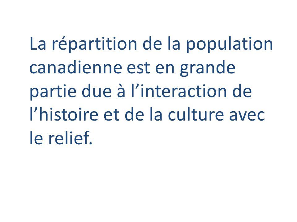La répartition de la population canadienne est en grande partie due à l'interaction de l'histoire et de la culture avec le relief.