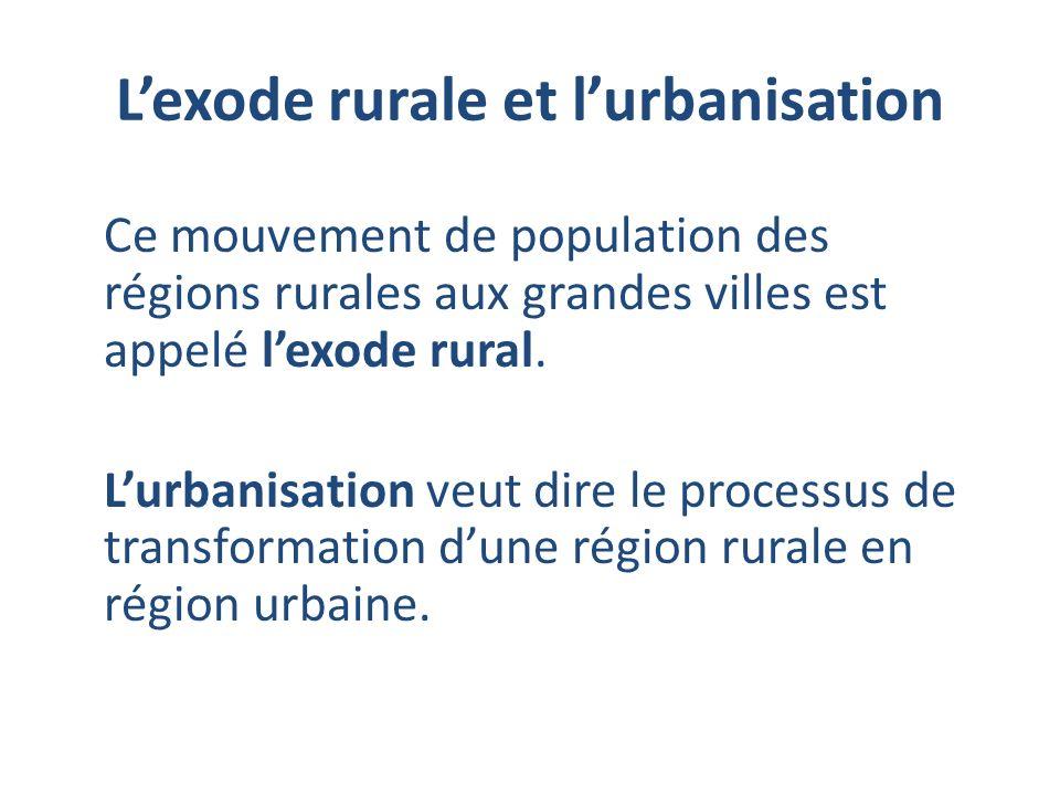 L'exode rurale et l'urbanisation