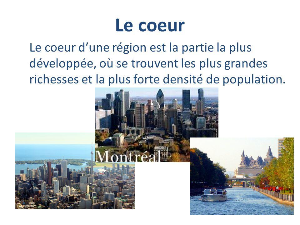 Le coeur Le coeur d'une région est la partie la plus développée, où se trouvent les plus grandes richesses et la plus forte densité de population.