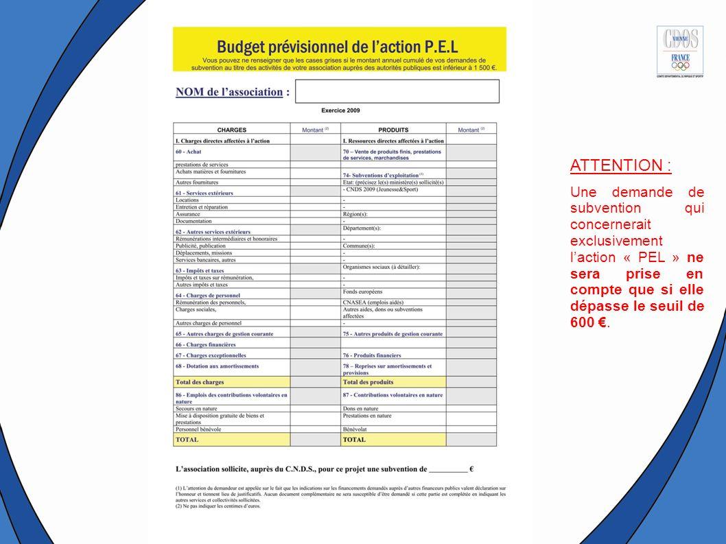 ATTENTION : Une demande de subvention qui concernerait exclusivement l'action « PEL » ne sera prise en compte que si elle dépasse le seuil de 600 €.