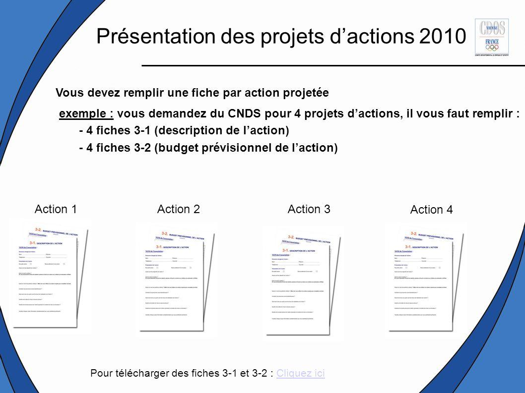 Présentation des projets d'actions 2010