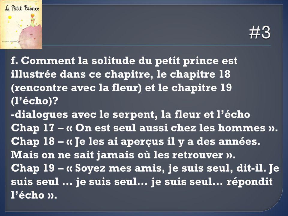 #3 f. Comment la solitude du petit prince est illustrée dans ce chapitre, le chapitre 18 (rencontre avec la fleur) et le chapitre 19 (l'écho)