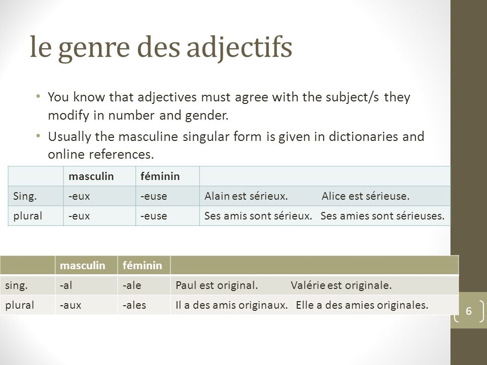 le genre des adjectifs You know that adjectives must agree with the subject/s they modify in number and gender.