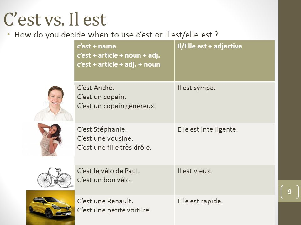 C'est vs. Il est How do you decide when to use c'est or il est/elle est c'est + name. c'est + article + noun + adj.