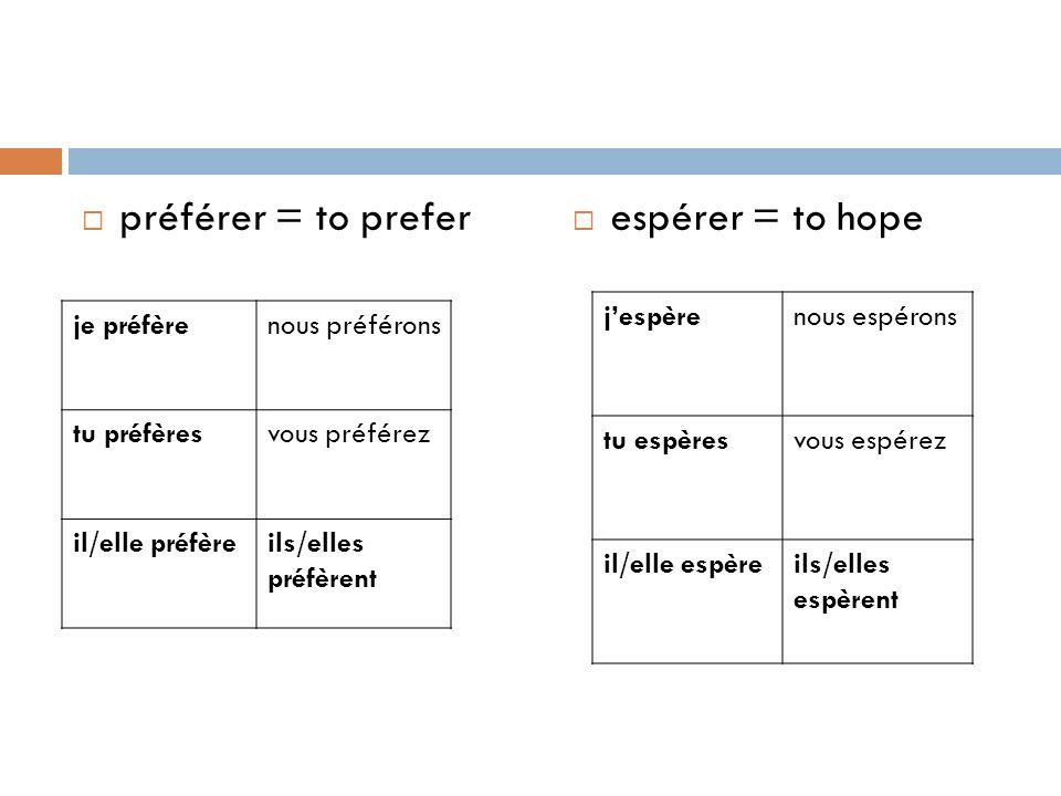 préférer = to prefer espérer = to hope j'espère nous espérons