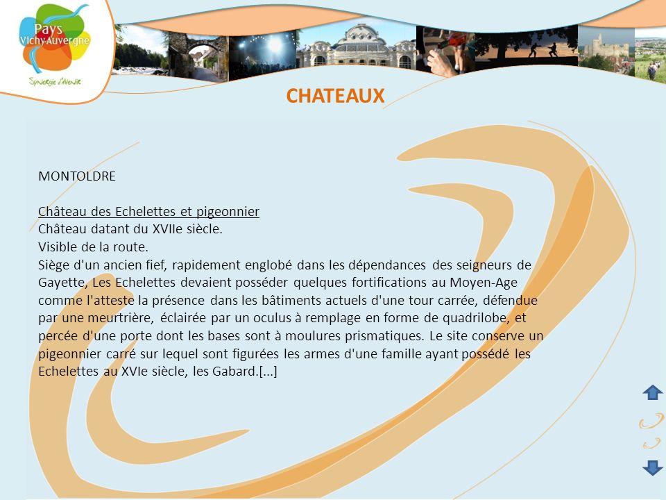 CHATEAUX MONTOLDRE Château des Echelettes et pigeonnier