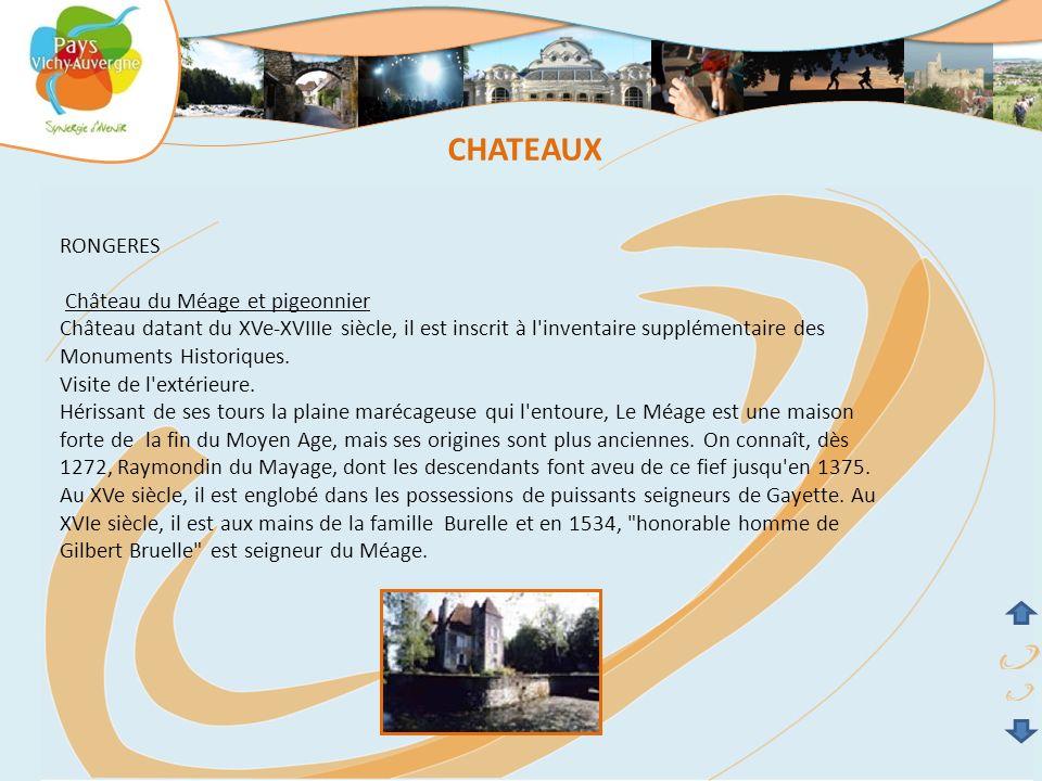 CHATEAUX RONGERES Château du Méage et pigeonnier